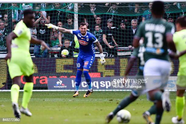 Alexandre Letellier of Angers during the Ligue 1 match between AS Saint Etienne and Angers SCO at Stade GeoffroyGuichard on September 10 2017 in...