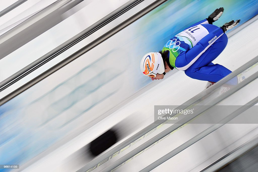 Alexandre Mabboux of France competes during the Ski Jumping Normal Hill Individual Trial Round of the 2010 Winter Olympics at Whistler Olympic Park Ski Jumping Stadium on February 12, 2010 in Whistler, Canada.