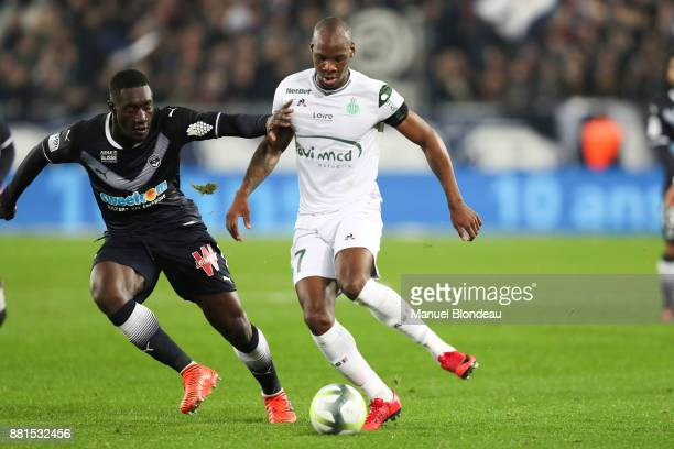 Alexandre Mendy of Bordeaux and Bryan Dabo of Saint Etienne during the Ligue 1 match between FC Girondins de Bordeaux and AS SaintEtienne at Stade...