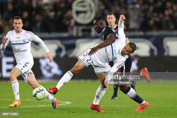 Alexandre Mendy of Bordeaux and Kenny Lala of Strasbourg during the Ligue 1 match between FC Girondins de Bordeaux and Strasbourg at Stade Matmut...