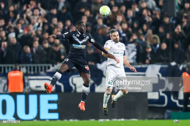 Alexandre Mendy of Bordeaux and Loic Perrin of Saint Etienne during the Ligue 1 match between FC Girondins de Bordeaux and AS SaintEtienne at Stade...