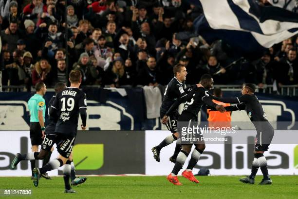 Alexandre Mendy of Bordeaux reacts after his goal during the Ligue 1 match between FC Girondins de Bordeaux and AS SaintEtienne at Stade Matmut...