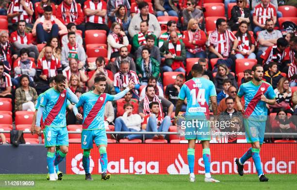 Alexandre Moreno of Rayo Vallecano celebrates after scoring goal during the La Liga match between Athletic Club and Rayo Vallecano de Madrid at San...