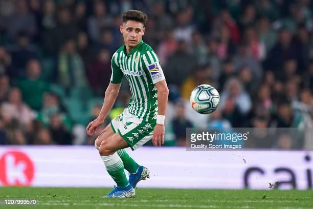 Alexandre Moreno of Real Betis in action during the La Liga match between Real Betis Balompie and RCD Mallorca at Estadio Benito Villamarin on...