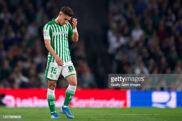 Alexandre Moreno of Real Betis reacts during the La Liga match between Real Betis Balompie and RCD Mallorca at Estadio Benito Villamarin on February...
