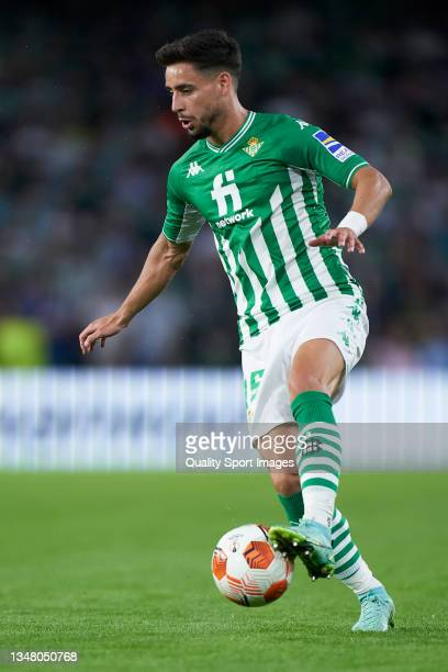 Alexandre Moreno of Real Betis runs with the ball during the UEFA Europa League group G match between Real Betis and Bayer Leverkusen at Estadio...