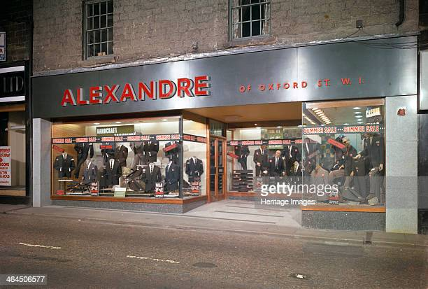 Alexandre of Oxford Street men's clothes shop frontage Mexborough South Yorkshire 1963 Alexandre of Oxford Street's new branch in Mexborough South...