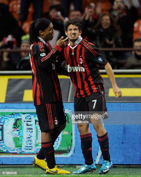 Alexandre Pato and Ronaldinho of AC Milan celebrate after Milan's second goal during the Serie A match between AC Milan and AS Roma at Stadio...