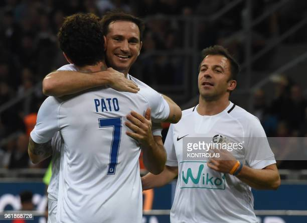 STADIUM MILAN LOBBARDIA ITALY Alexandre Pato Frank Lampard and Alessandro Del Piero celebrate Pato's goal during the last match of Andrea Pirlo in...