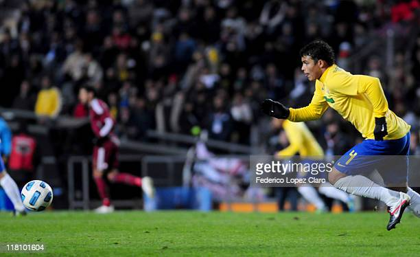 Alexandre Pato from Brazil controls the ball during a matchg between Brazil and Venezuela at Ciudad de La Plata Stadium as part of the group B of...