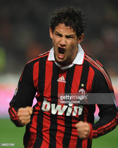 Alexandre Pato of AC Milan celebrates scoring Milan's third goal during the Serie A match between AC Milan and UC Sampdoria at Stadio Giuseppe Meazza...