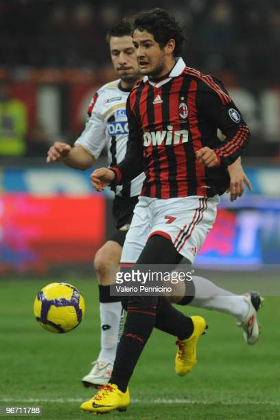 Alexandre Pato of AC Milan in action during the Serie A match between AC Milan and Udinese Calcio at Stadio Giuseppe Meazza on February 12 2010 in...