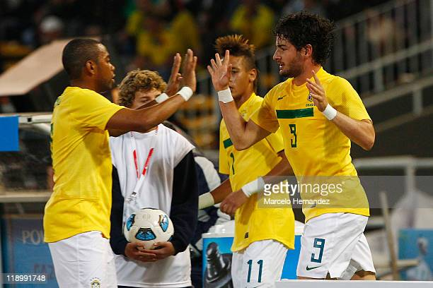 Alexandre Pato of Brazil celebrates his goal against Ecuador during a match as part of Group B of Copa America 2011 at the Mario Kempes Stadium on...