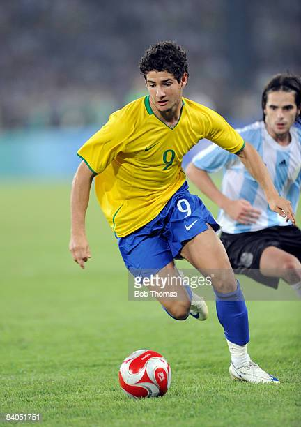 Alexandre Pato of Brazil during the men's football semifinal match between Argentina and Brazil at Workers' Stadium on Day 11 of the Beijing 2008...