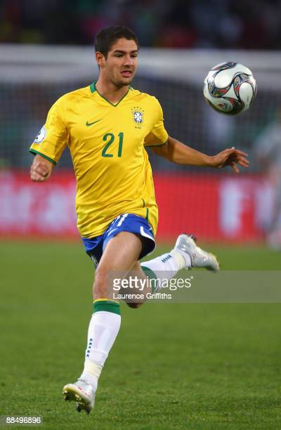 Alexandre Pato of Brazil in action during the FIFA Confederations Cup match between Brazil and Egypt at The Free State Stadium on June 15, 2009 in...