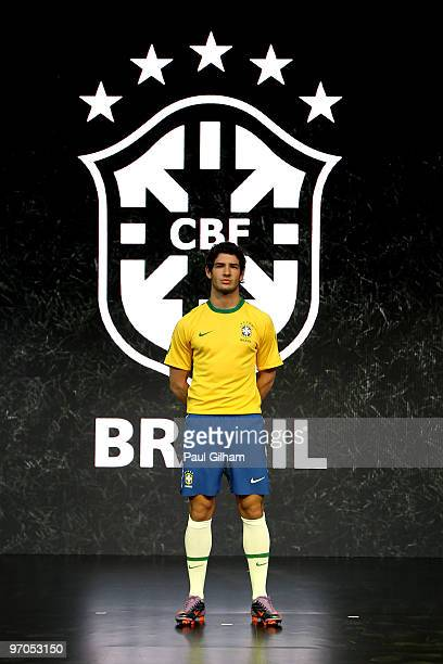 Alexandre Pato of Brazil poses during the Nike unveils the new Brazil home and away kit plus 8 away kits for the other NikeSponsored federations...