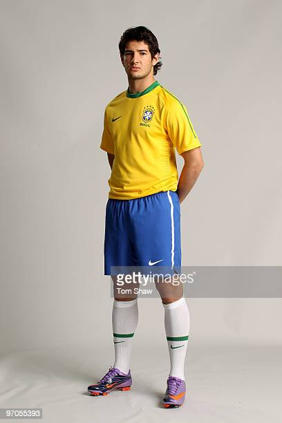 Alexandre Pato of Brazil poses during the Nike unveils the new Brazil home and away kit, plus 8 away kits for the other Nike-Sponsored federations...