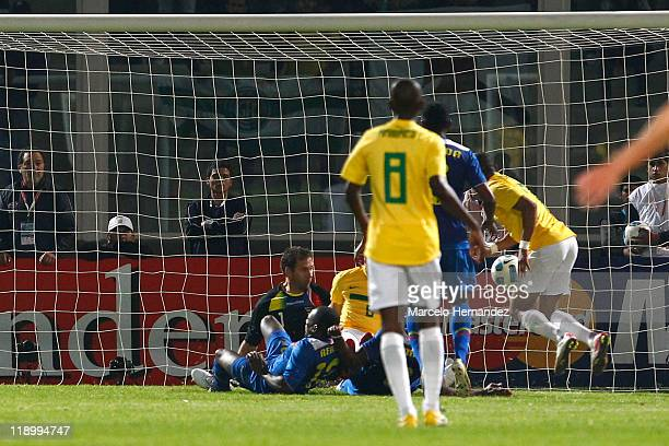 Alexandre Pato of Brazil scoring a goal against Ecuador during a match as part of Group B of Copa America 2011 at the Mario Kempes Stadium on July 13...