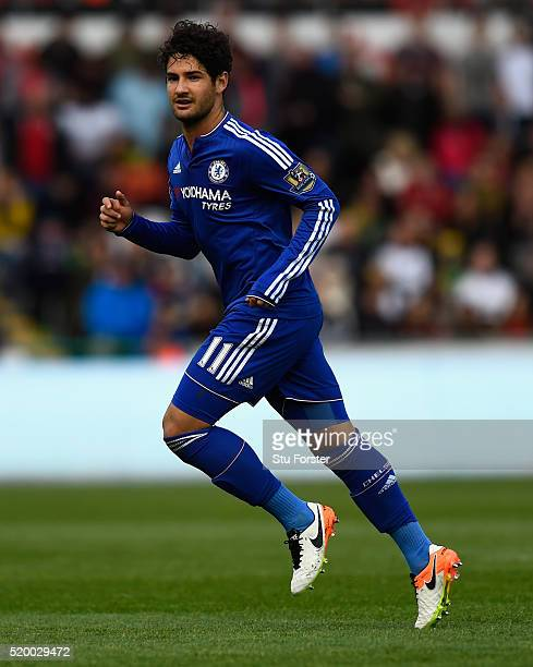 Alexandre Pato of Chelsea in action during the Barclays Premier League match between Swansea City and Chelsea at Liberty Stadium on April 9 2016 in...