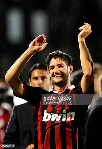 Alexandre Pato of Milan celebrates after the victory in the Serie A match between Siena and Milan at Artemio Franchi Montepaschi Arena Stadium on...
