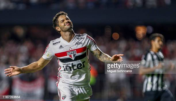 Alexandre Pato of Sao Paulo celebrates after scoring his second goal and the third of his team during a match between Sao Paulo and Santos for the...