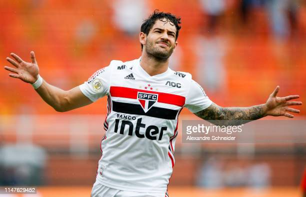 Alexandre Pato of Sao Paulo celebrates after scoring the first goal of his team during the match against Cruzeiro for the Brasileirao Series A 2019...