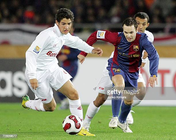 Alexandre Pato of Sport Club Internacional and Iniesta of FC Barcelona battle for the ball during the final of the FIFA Club World Cup Japan 2006...