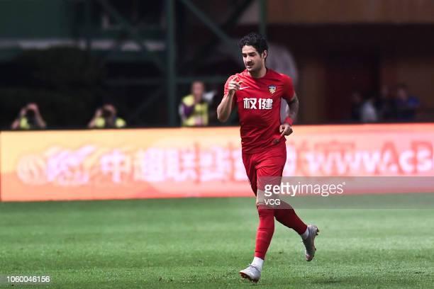 Alexandre Pato of Tianjin Quanjian celebrates a point during the 2018 Chinese Super League match between Guangzhou RF and Tianjin Quanjian at...