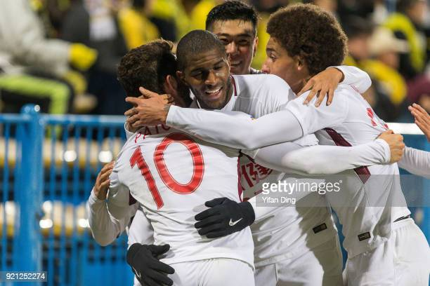 Alexandre Pato of Tianjin Quanjian celebrates with his teammates after scoring a goal during the AFC Champions League match between Kasshiwa Reysol...