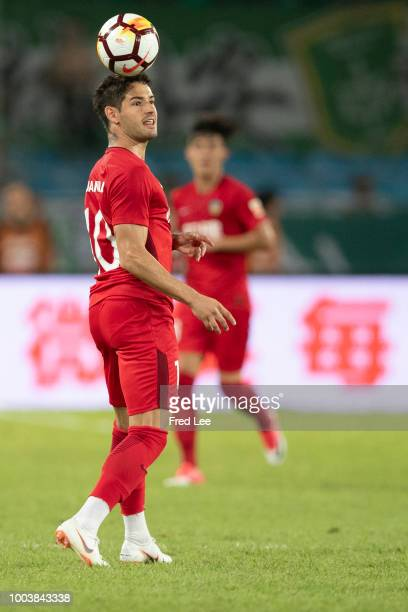 Alexandre Pato of Tianjin Quanjian in action during The 2018 Chinese Super League match between Beijing Guoan and Tianjin QuanJian at Beijing Workers...