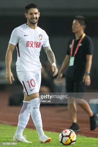 Alexandre Pato of Tianjin Quanjian in action during the 2018 Chinese Super League match between Beijing Renhe and Tianjin Quanjian at Beijing Fengtai...