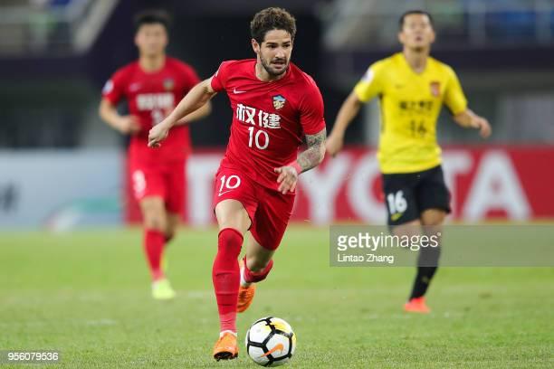 Alexandre Pato of Tianjin Quanjian in action during the AFC Champions League Round of 16 first leg match between Tianjin Quanjian and Guangzhou...