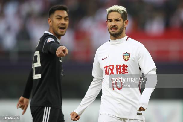 Alexandre Pato of Tianjin Quanjian looks on during the 2018 AFC Champions League qualifying match between Tianjin Quanjian and CeresNegros at Tianjin...