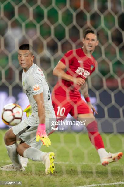 Cedric Bakambu of Beijing Guoan in action during 2018 Chinese Super League match between Beijing Guoan and Tianjin QuanJian at Beijing Workers...