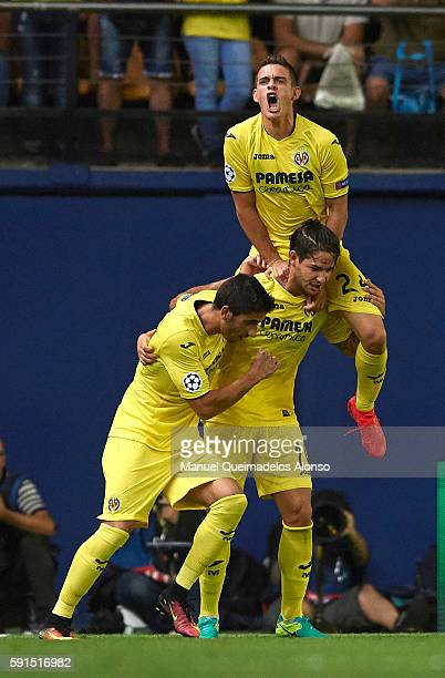 Alexandre Pato of Villarreal celebrates scoring his team's first goal with his tammates Rafael Borre and Jose Angel during the UEFA Champions League...