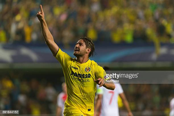 Alexandre Pato of Villarreal CF celebrates the first goal of his team during the UEFA Champions league first leg playoff football match between...
