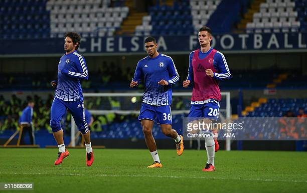 Alexandre Pato Ruben LoftusCheek Matt Miazga of Chelsea take part in a training session at the end of the Emirates FA Cup match between Chelsea and...