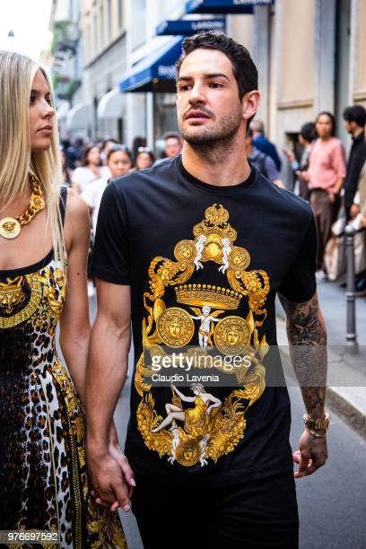 Alexandre Pato wearing Versace t shirt is seen in the streets of Milan before the Versace show during Milan Men's Fashion Week Spring/Summer 2019 on...