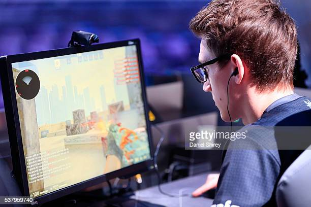 Alexandre Pianaro gamertag 'bodyy' of G2 Esports warms up prior to the match against Ninjas in Pyjamas at the ELeague Arena at Turner Studios on June...