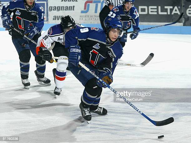 Alexandre Picard of the Lewiston MAINEiacs skates against the Gatineau Olympiques on October 11, 2004 at Centre Robert-Guertin in Gatineau, Quebec,...