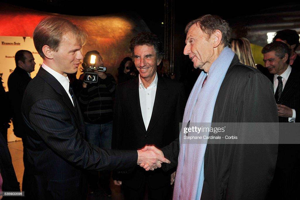Alexandre Pougatchev, Jack Lang and Etienne Mougeotte attend France Soir Launch Party in Paris.
