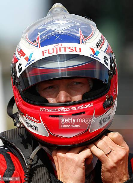 Alexandre Premat of Fujitsu Racing fits his helmet before the start of Race 6 ahead of the ITM 400 V8 Supercars on April 13 2013 in Auckland New...