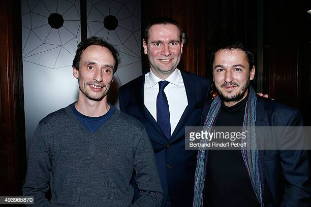 Alexandre Ricard and Laureats of Ricard Foundation Florent Pugnaire and David Raffini attend 'Le Bal Jaune 2015' Dinner Party At Hotel Salomon de...