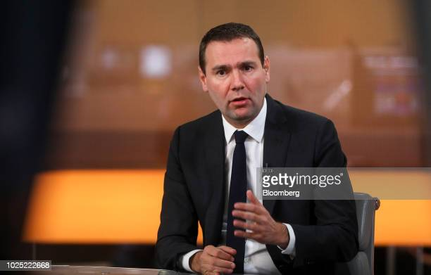Alexandre Ricard chief executive officer of Pernod Ricard SA gestures while speaking during a Bloomberg Television interview in London UK on Thursday...