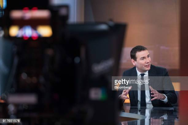 Alexandre Ricard chief executive officer of Pernod Ricard SA gestures as he speaks during a Bloomberg Television interview in London UK on Tuesday...
