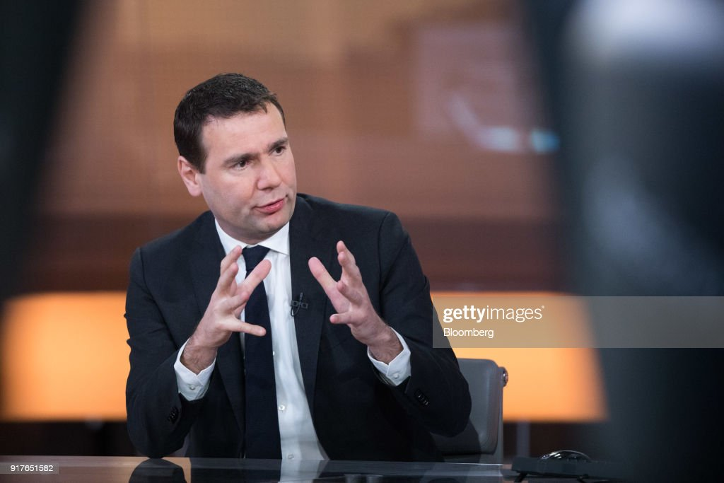 Alexandre Ricard, chief executive officer of Pernod Ricard SA, gestures as he speaks during a Bloomberg Television interview in London, U.K., on Tuesday, Feb. 13, 2018. Pernod Ricard is monitoring the cannabis industry closely, Ricard said during the interview. Photographer: Chris Ratcliffe/Bloomberg via Getty Images