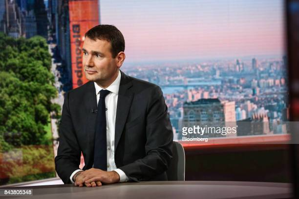 Alexandre Ricard chief executive officer of Pernod Ricard SA listens during a Bloomberg Television interview in New York US on Thursday Sept 7 2017...