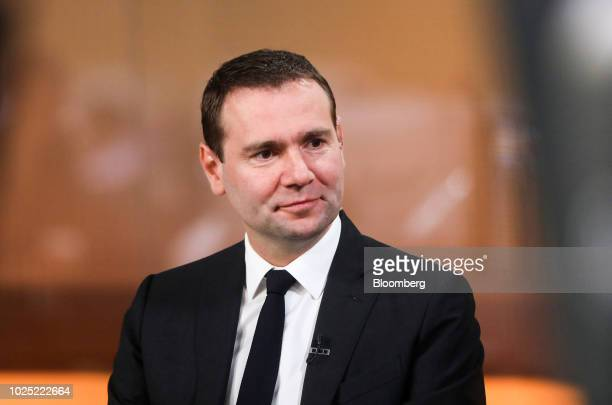 Alexandre Ricard chief executive officer of Pernod Ricard SA pauses during a Bloomberg Television interview in London UK on Thursday Aug 30 2018...