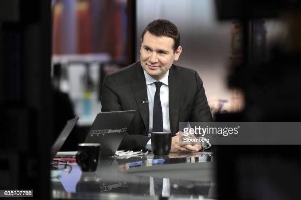 Alexandre Ricard chief executive officer of Pernod Ricard SA reacts during a Bloomberg Television interview in London UK Tuesday Feb 14 2017 Ricard...