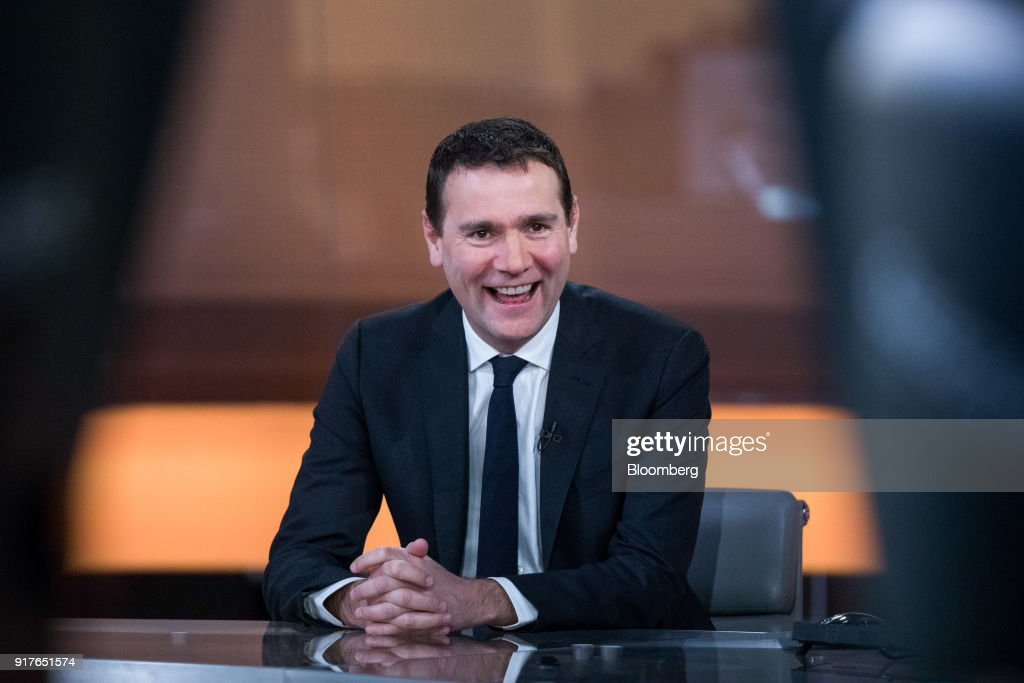 Alexandre Ricard, chief executive officer of Pernod Ricard SA, reacts during a Bloomberg Television interview in London, U.K., on Tuesday, Feb. 13, 2018. Pernod Ricard is monitoring the cannabis industry closely, Ricard said during the interview. Photographer: Chris Ratcliffe/Bloomberg via Getty Images